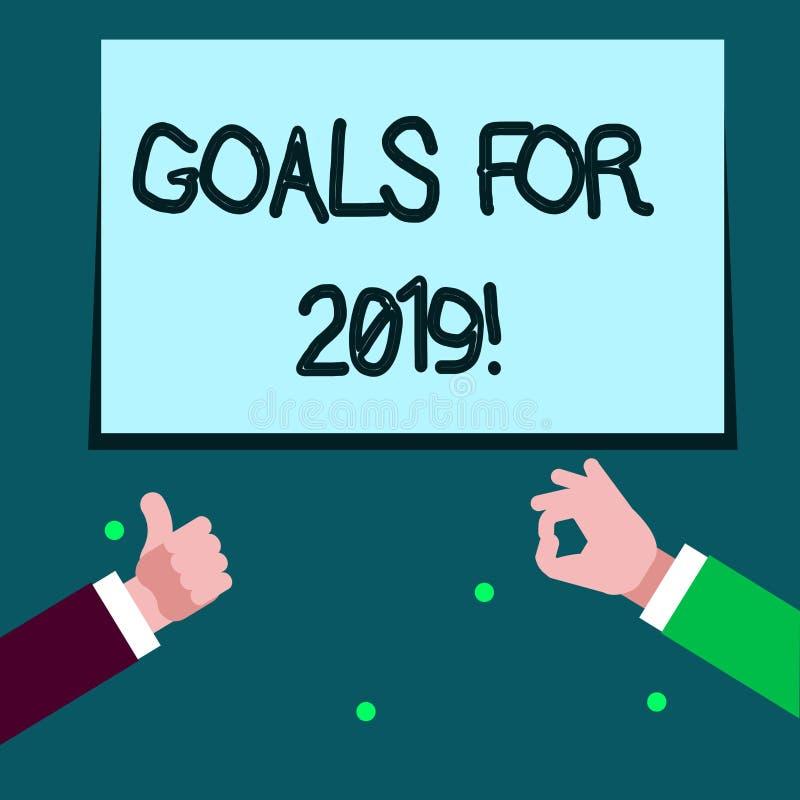 Wortschreibens-Text Ziele für 2019 Geschäftskonzept für Gegenstand von demonstratings Ehrgeiz oder Bemühungsziel oder -erwünschte stock abbildung