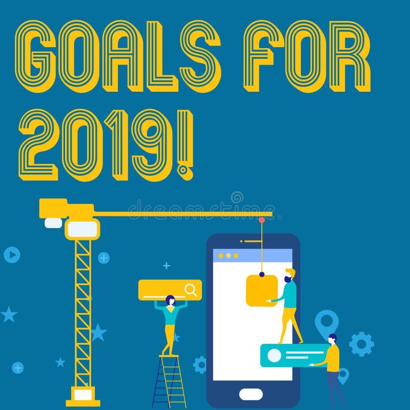 Wortschreibens-Text Ziele für 2019 Geschäftskonzept für Gegenstand von demonstratings Ehrgeiz oder Bemühungsziel oder -erwünschte vektor abbildung