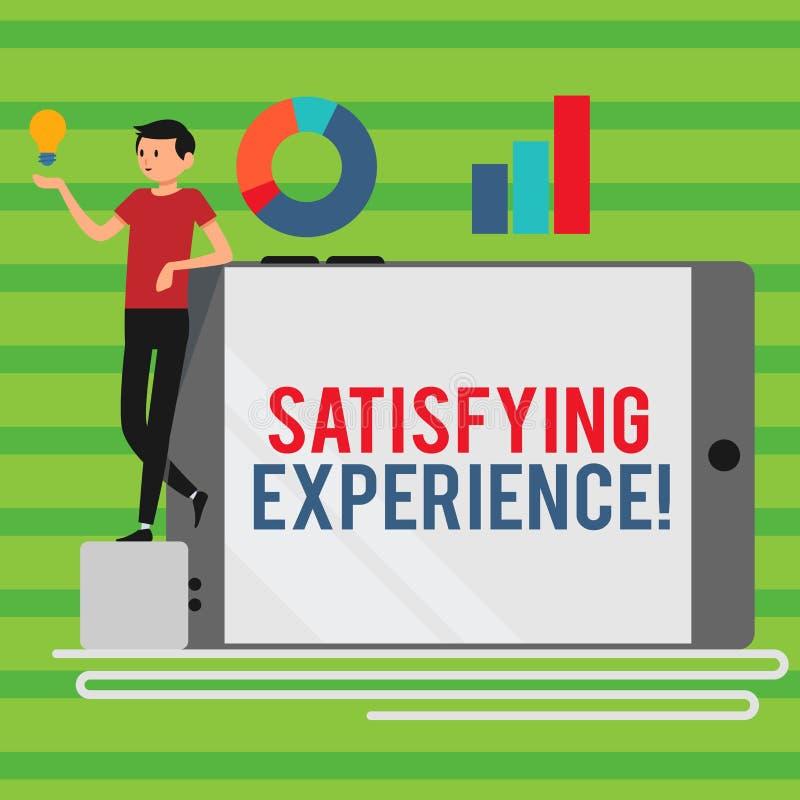 Wortschreibens-Text Zufriedenstellungserfahrung Geschäftskonzept für das Lassen Sie erfreuter und befriedigender Erfahrung Mann stock abbildung