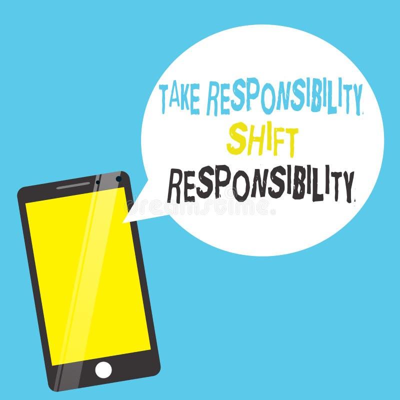 Wortschreibenstext übernehmen Verantwortungs-Schiebeverantwortung Geschäftskonzept für wird nehmen die Verpflichtung gereift lizenzfreie abbildung