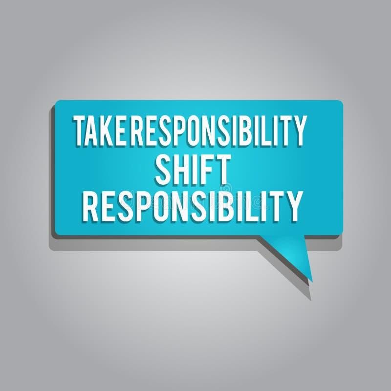 Wortschreibenstext übernehmen Verantwortungs-Schiebeverantwortung Geschäftskonzept für wird nehmen die Verpflichtung gereift stock abbildung