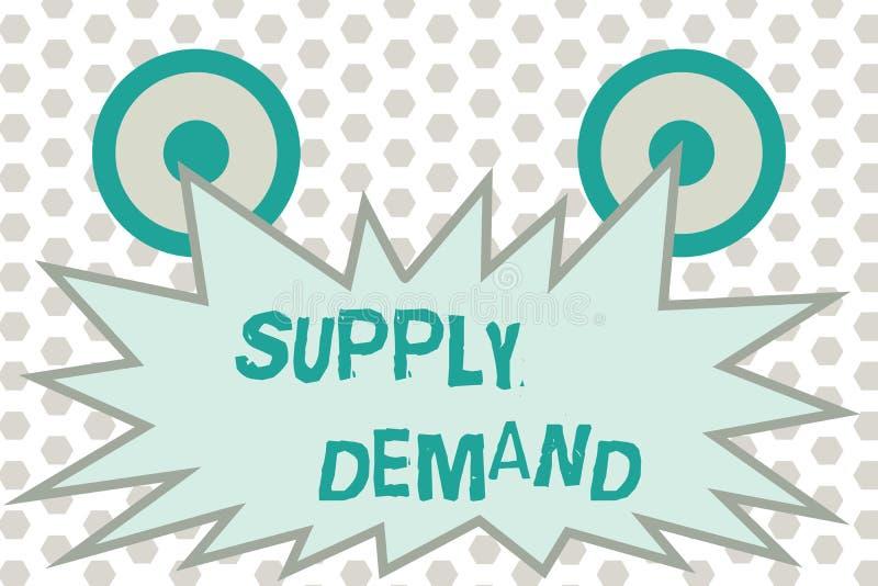 Wortschreibenstext Angebot-Nachfrage Geschäftskonzept für Verhältnis zwischen den Mengen verfügbar und gewünscht lizenzfreie abbildung
