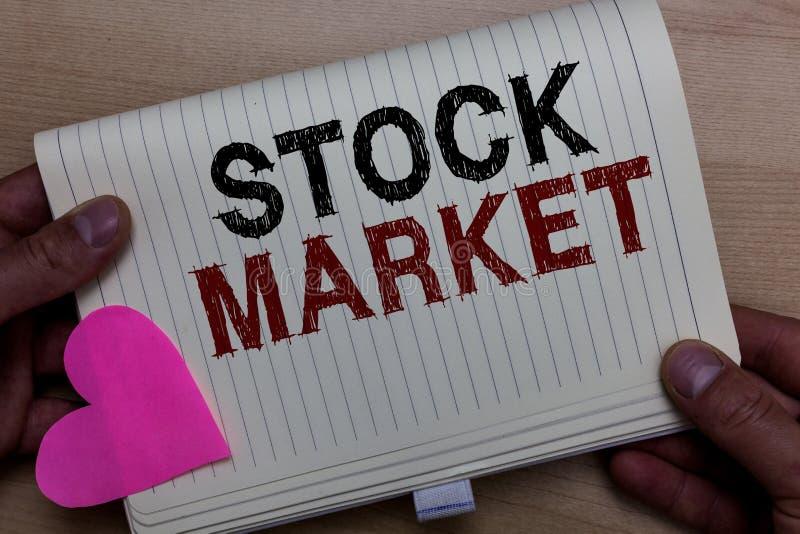 Wortschreibenstext Börse Geschäftskonzept für bestimmten Markt, in dem Aktien und Obligationen gehandelt oder den Mann halten kei stockfotografie