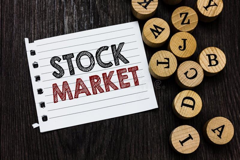 Wortschreibenstext Börse Geschäftskonzept für bestimmten Markt, in dem Aktien und Obligationen gehandelt oder Stücknotizbuch aust stockfotografie