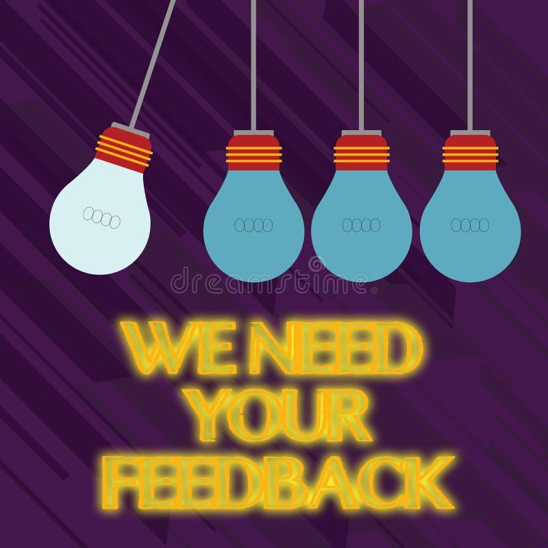 Wortschreibenstext benötigen wir Ihr Feedback Geschäftskonzept für die Kritik, die gegeben wird, um zu sagen, kann erfolgte Verbe stock abbildung