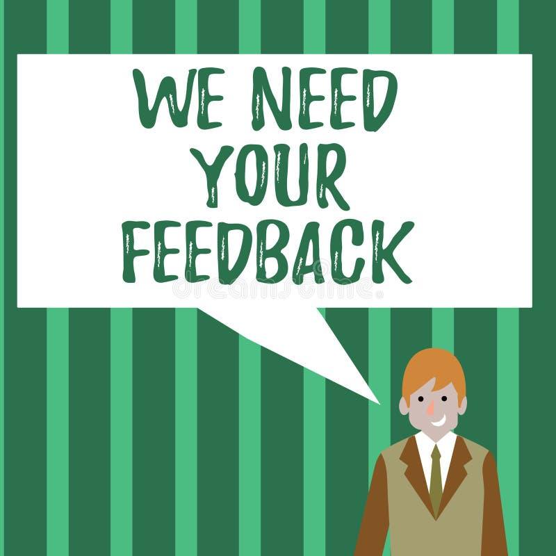 Wortschreibenstext benötigen wir Ihr Feedback Geschäftskonzept für die Kritik, die gegeben wird, um zu sagen, kann getaner Verbes vektor abbildung