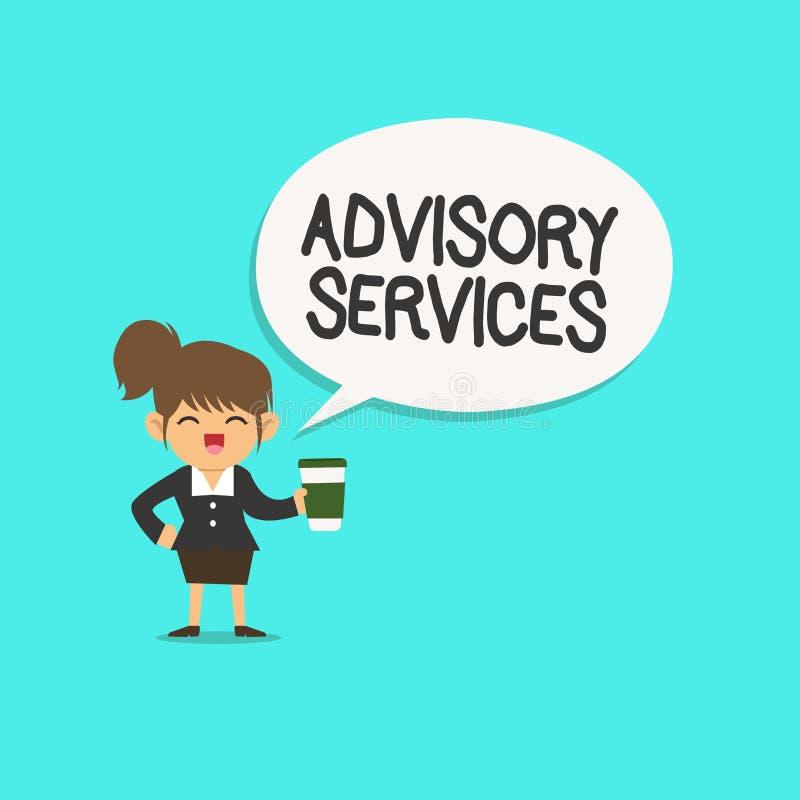 Wortschreibenstext Beratungsdienste Geschäftskonzept für Stützaktionen und überwundene Schwächen in den speziellen Bereichen lizenzfreie abbildung