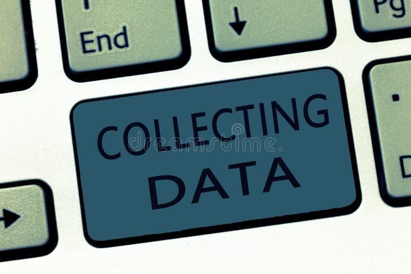 Wortschreibenstext, der Daten sammelt Geschäftskonzept zu Erfassungsund messender Information über Variablen des Interesses stockfoto