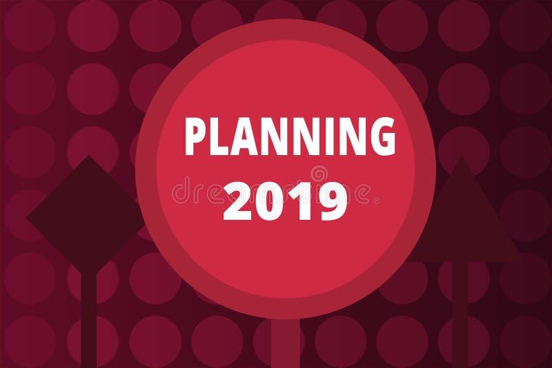 Wortschreibenstext, der 2019 plant Geschäftskonzept für Begin mit Ende im Verstand, der langfristige Ziele in Position bringt vektor abbildung