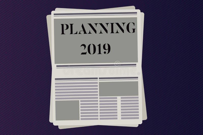 Wortschreibenstext, der 2019 plant Geschäftskonzept für Begin mit Ende im Verstand, der langfristige Ziele in Position bringt lizenzfreie abbildung
