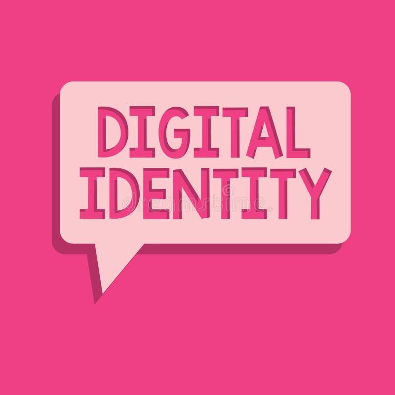 Wortschreibenstext Digital-Identität Geschäftskonzept zu Information über das Wesen benutzt durch Computer, um Mittel darzustelle vektor abbildung
