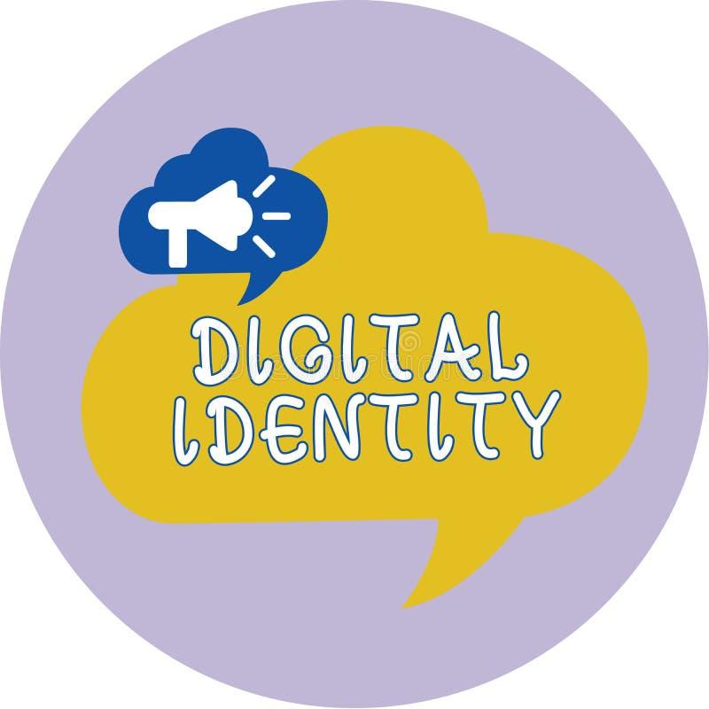 Wortschreibenstext Digital-Identität Geschäftskonzept zu Information über das Wesen benutzt durch Computer, um Mittel darzustelle lizenzfreie abbildung