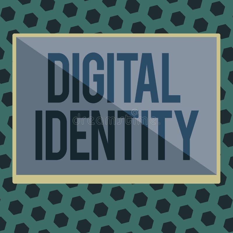 Wortschreibenstext Digital-Identität Geschäftskonzept zu Information über das Wesen benutzt durch Computer, um Mittel darzustelle stock abbildung