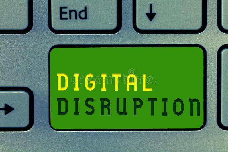 Wortschreibenstext Digital-Unterbrechung Geschäftskonzept für Änderungen, die Technologiemärkte Produktumarbeitung beeinflussen lizenzfreie stockfotografie
