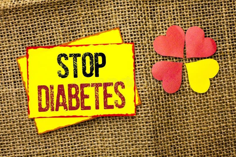 Wortschreibenstext Enddiabetes Geschäftskonzept für kümmern sich um Ihren Sugar Levels Healthy Diet Nutritions-Gewohnheiten, die  stockbilder