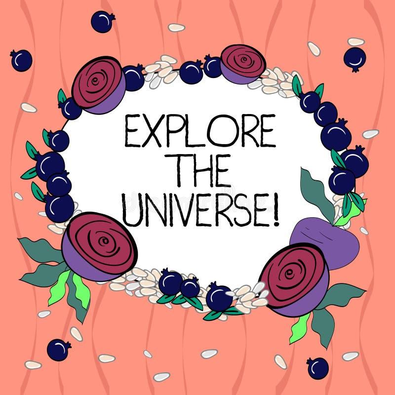 Wortschreibenstext erforschen das Universum Geschäftskonzept für Discover der Raum und die Zeit und ihr Inhalt Blumenkranz gemach vektor abbildung