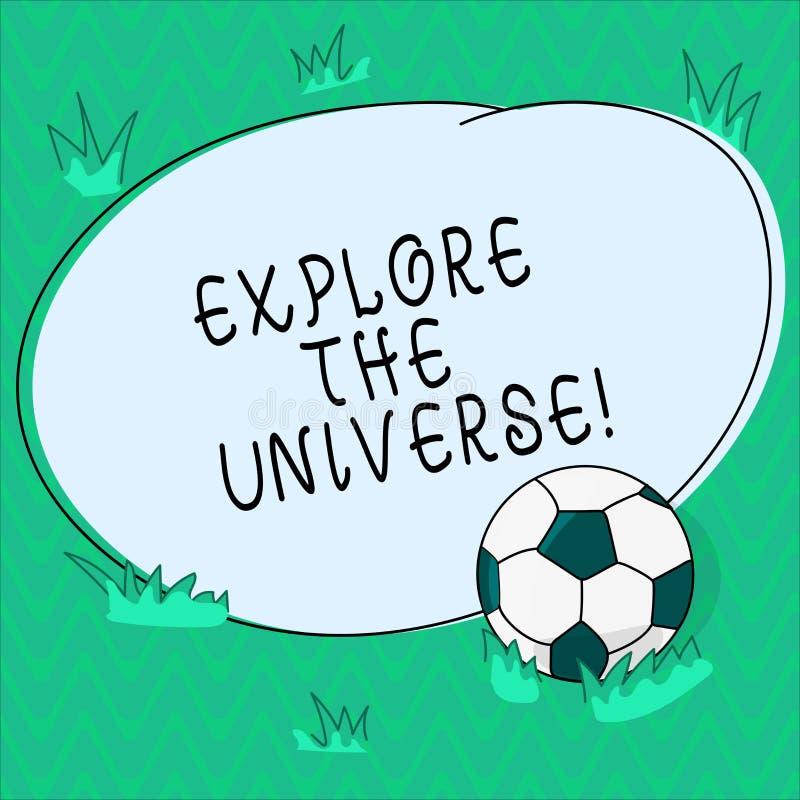 Wortschreibenstext erforschen das Universum Geschäftskonzept für Discover der Raum und die Zeit und ihr Inhalt Fußball lizenzfreie abbildung