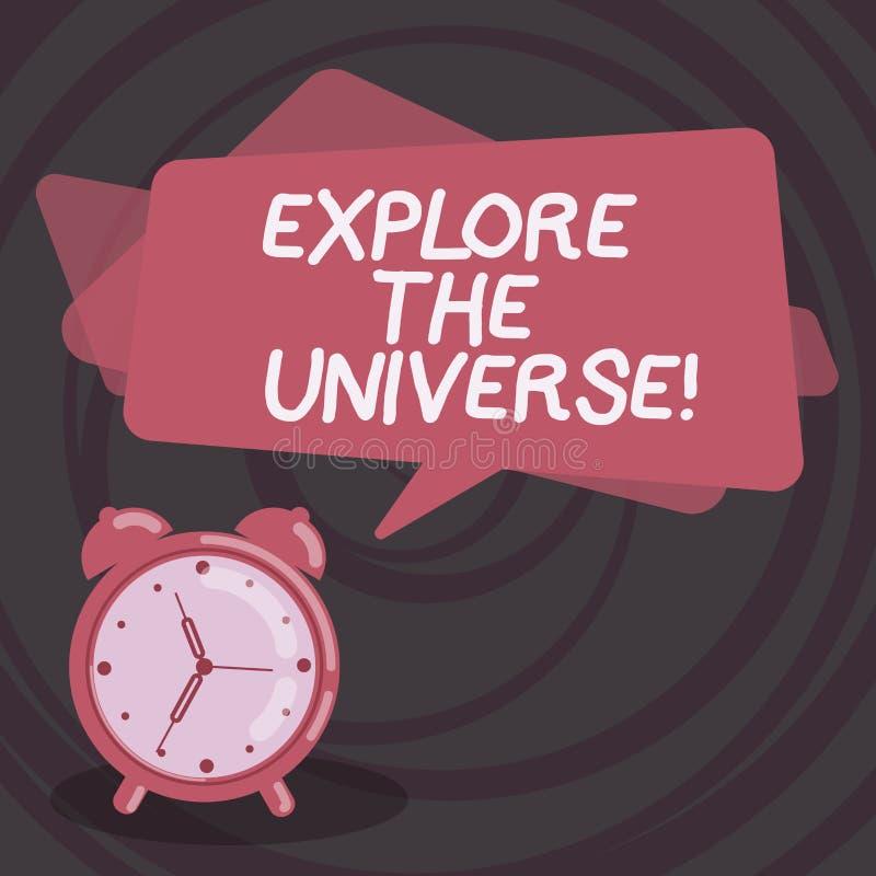 Wortschreibenstext erforschen das Universum Geschäftskonzept für Discover der Raum und die Zeit und ihr Inhalt löschen stock abbildung