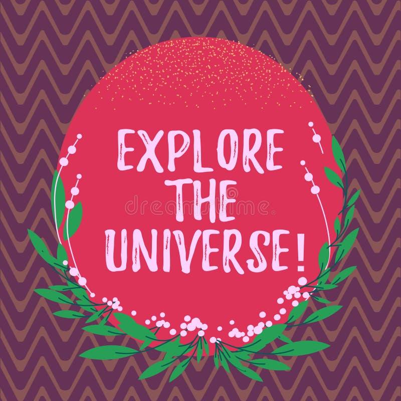 Wortschreibenstext erforschen das Universum Geschäftskonzept für Discover der Raum und die Zeit und ihr Inhalt löschen Farbe vektor abbildung
