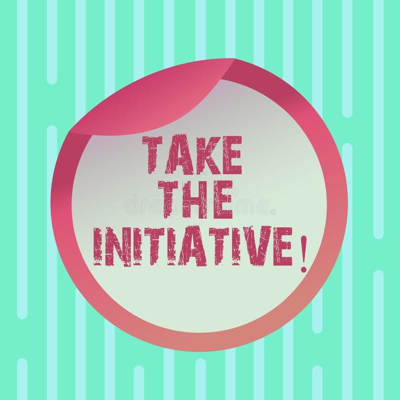 Wortschreibenstext ergreifen die Initiative Geschäftskonzept für Begin Aufgabenschrittaktionen oder Aktionsplan füllen im Augenbl stock abbildung