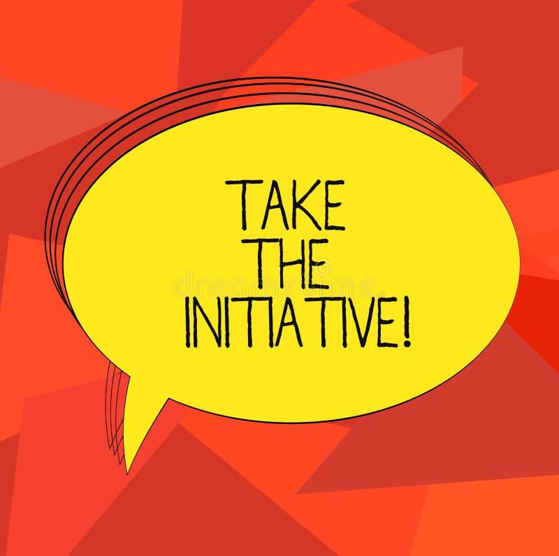 Wortschreibenstext ergreifen die Initiative Geschäftskonzept für Begin Aufgabenschrittaktionen oder Aktionsplan im Augenblick fre lizenzfreie abbildung