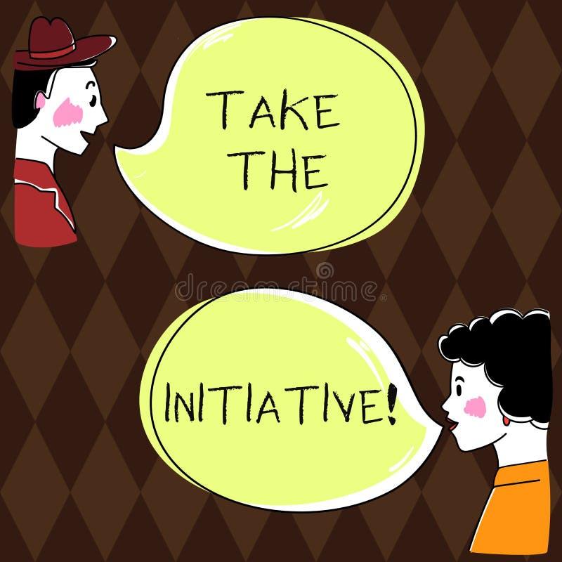 Wortschreibenstext ergreifen die Initiative Geschäftskonzept für Begin Aufgabenschrittaktionen oder Aktionsplan im Augenblick Han lizenzfreie abbildung