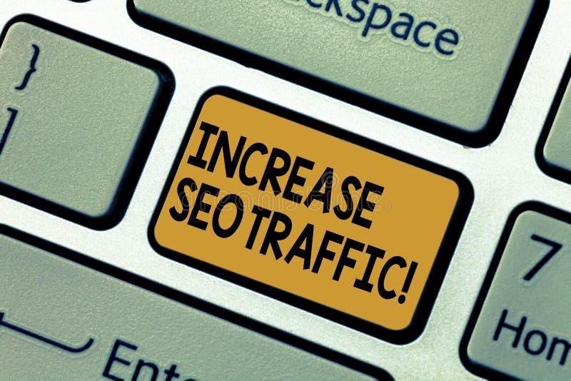 Wortschreibenstext erhöhen Seo Traffic Geschäftskonzept für Improve Webseiten-Ladengeschwindigkeit und optimieren zufriedene Tast stockfotografie