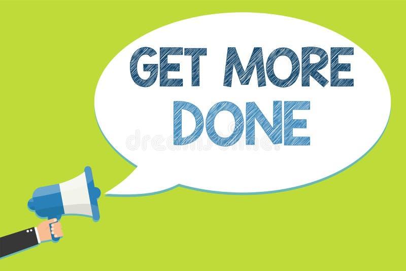 Wortschreibenstext erhalten getan Geschäftskonzept für Checkliste organisierte Zeit-Management-Anfangs-Hardwork-Taten-Mannholding lizenzfreie abbildung