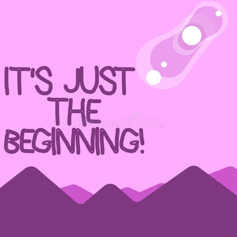 Wortschreibenstext es S gerade der Anfang Geschäftskonzept für Punkt, den etwas oder Anfang von der Anfangsansicht anfängt lizenzfreie abbildung