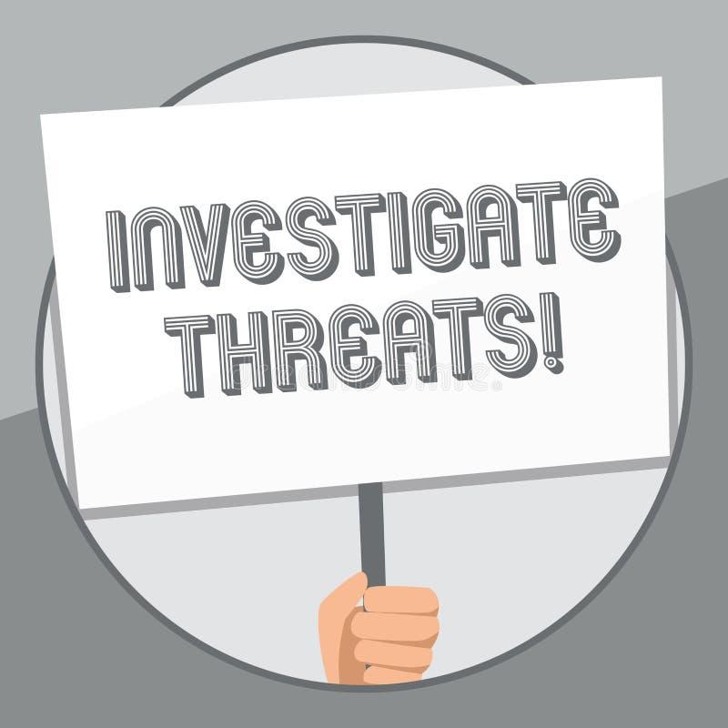 Wortschreibenstext forschen Drohungen nach Geschäftskonzept für eine systematische Untersuchung auf Hand der potenziellen Gefahr  vektor abbildung
