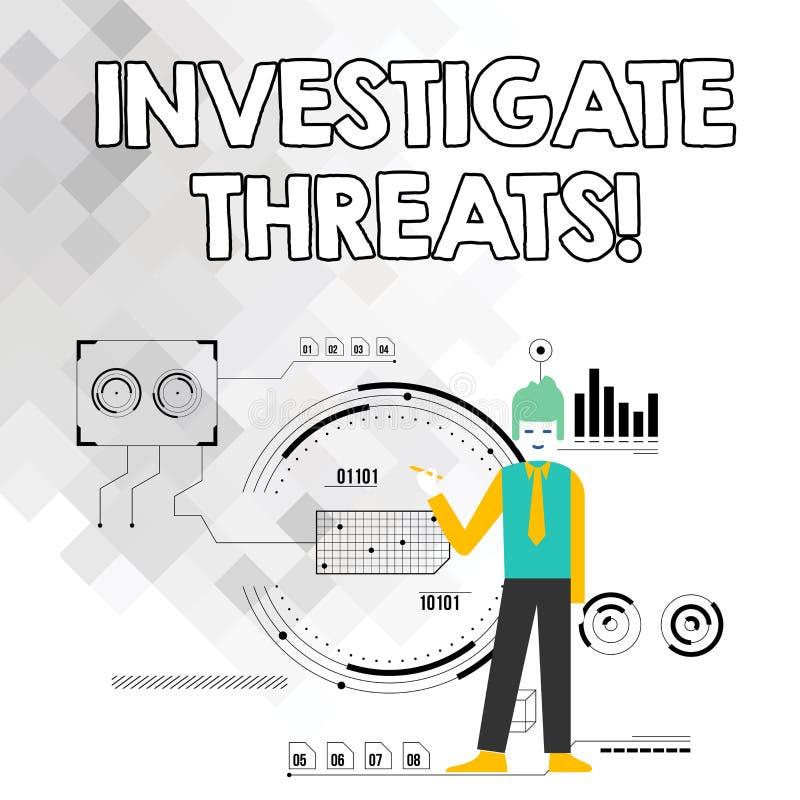 Wortschreibenstext forschen Drohungen nach Geschäftskonzept für eine systematische Untersuchung auf Mann der potenziellen Gefahr  stock abbildung