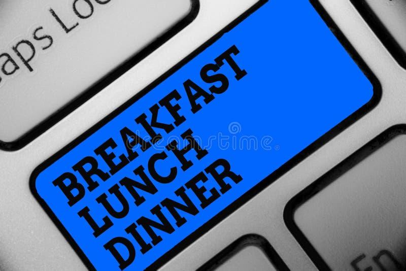 Wortschreibenstext Frühstücks-Mittagessen-Abendessen Geschäftskonzept für das Essen Ihrer Mahlzeiten am unterschiedlichen Zeitrau stock abbildung