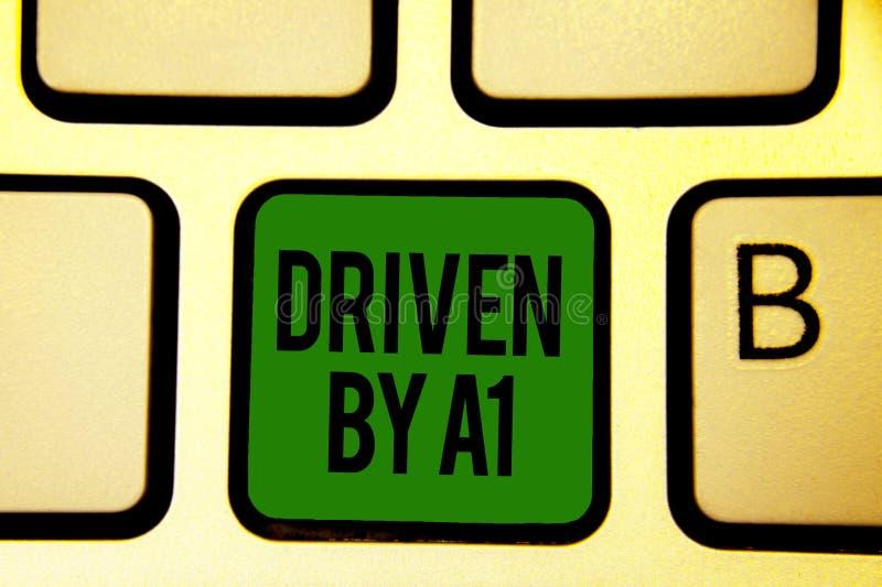 Wortschreibenstext gefahren durch A1 Geschäftskonzept für Bewegung oder durch einen hochwertigen Fahrer im Gesellschaft Tastatur- stockbild