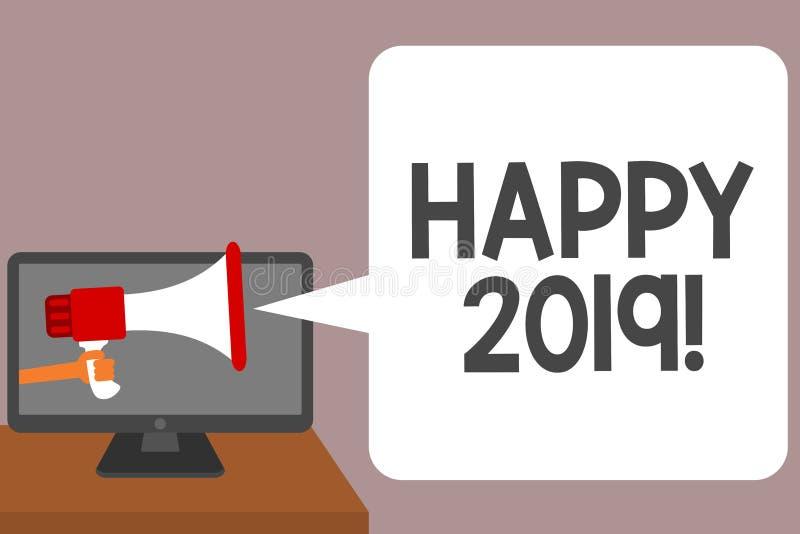Wortschreibenstext glückliches 2019 Geschäftskonzept für Zeit oder Tag, an denen ein neues Kalenderjahr ab jetzt den Mann anfange lizenzfreie abbildung