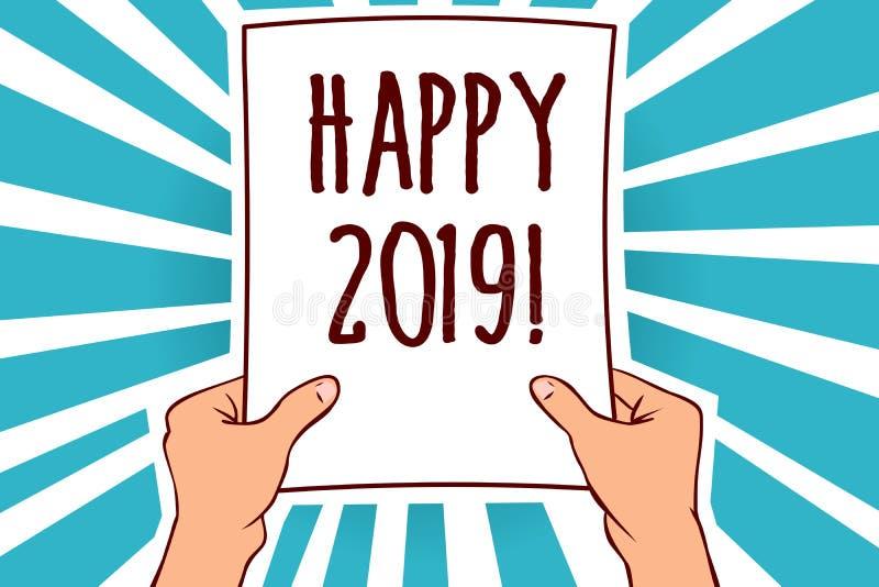 Wortschreibenstext glückliches 2019 Geschäftskonzept für Zeit oder Tag, an denen ein neues Kalenderjahr ab jetzt den Mann anfange vektor abbildung