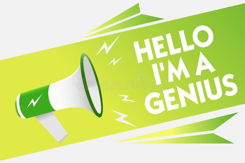 Wortschreibenstext hallo bin ich ein Genie Geschäftskonzept für Introduce sich, wie über durchschnittlicher Person zu anderen Mit vektor abbildung
