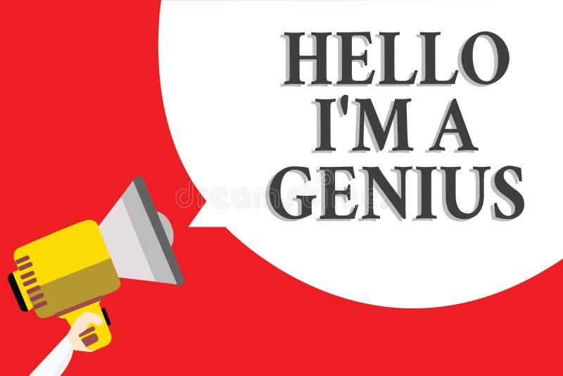 Wortschreibenstext hallo bin ich ein Genie Geschäftskonzept für Introduce sich wie über durchschnittlicher Person zu anderen stock abbildung