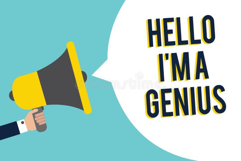 Wortschreibenstext hallo bin ich ein Genie Geschäftskonzept für Introduce sich wie über durchschnittlicher Person zu anderen sign vektor abbildung