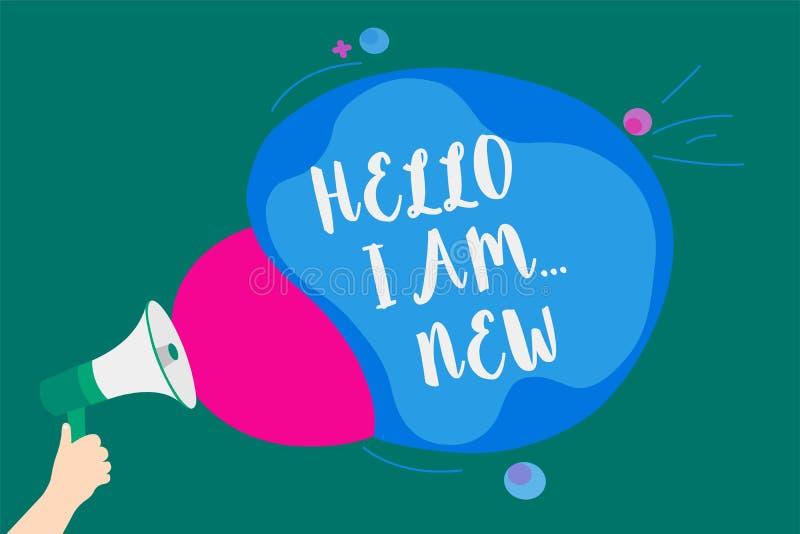 Wortschreibenstext hallo bin ich neu Geschäftskonzept für Introduce sich frische Schule Arbeitskraft der Sitzungs-Gruß-Arbeit übe stock abbildung
