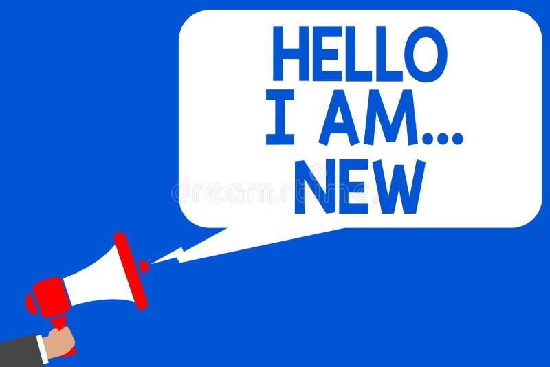Wortschreibenstext hallo bin ich neu Geschäftskonzept für Introduce sich Mehrfachverbindungsstellenli Arbeitskraft der Sitzungs-G vektor abbildung