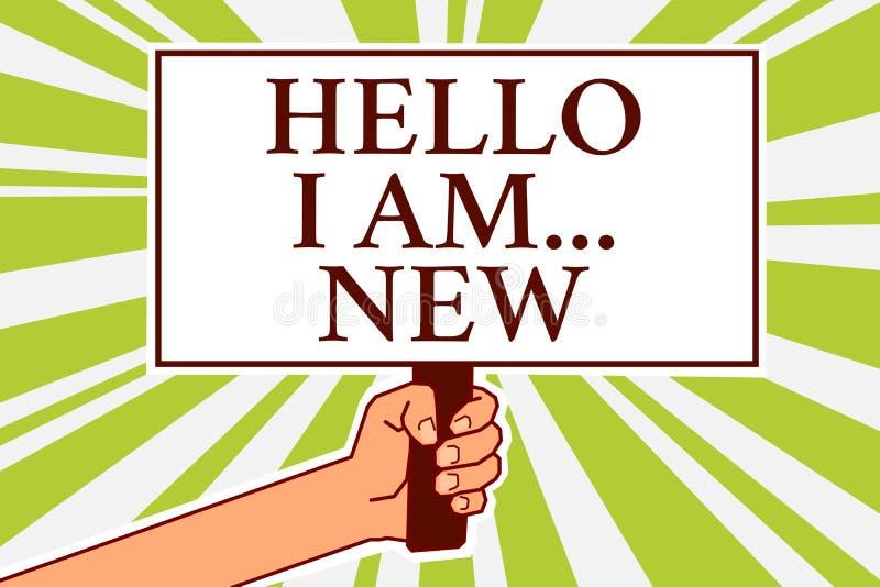 Wortschreibenstext hallo bin ich neu Geschäftskonzept für Introduce sich Mitteilungseber Arbeitskraft der Sitzungs-Gruß-Arbeit fr vektor abbildung