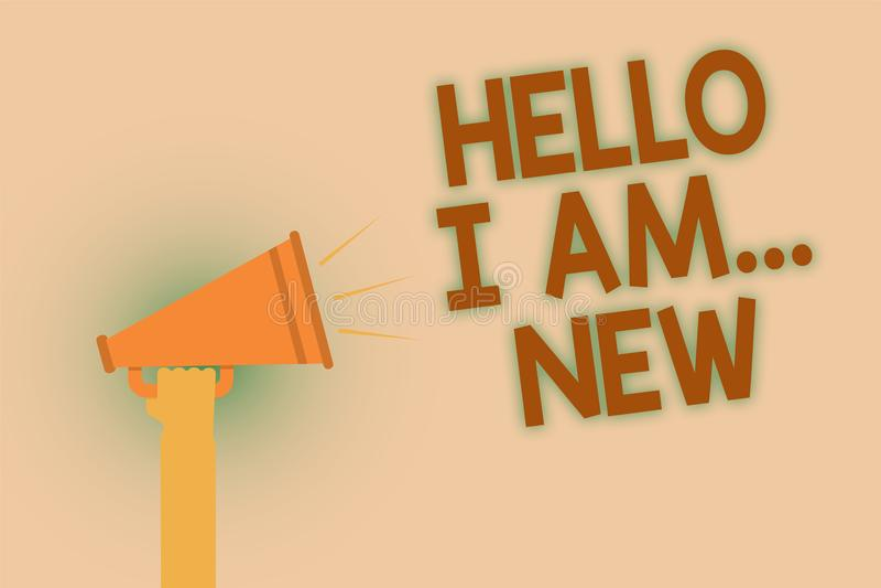 Wortschreibenstext hallo bin ich neu Geschäftskonzept für Introduce sich neues Braun Arbeitskraft der Sitzungs-Gruß-Arbeit Schulh lizenzfreie abbildung