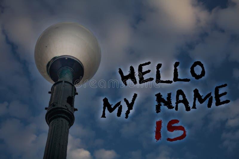 Wortschreibenstext hallo mein Name ist Geschäftskonzept für Introduce sich Sitzung jemand neue Darstellungs-Lichtbeitrags-Blauwol stock abbildung