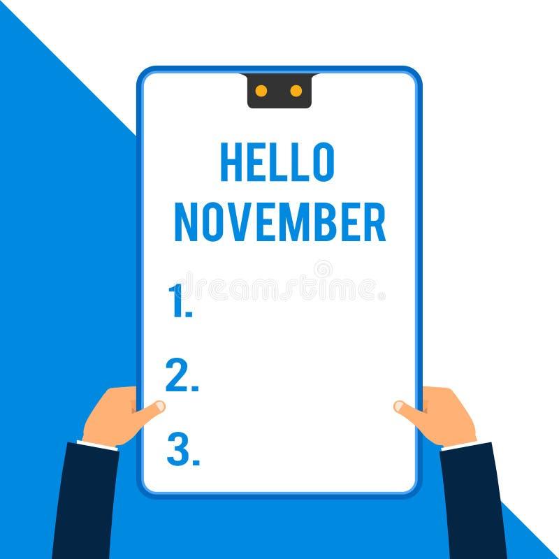 Wortschreibenstext hallo November Geschäftskonzept für Willkommen der elfte Monat des Jahr Monats zwei vor Dezember stock abbildung