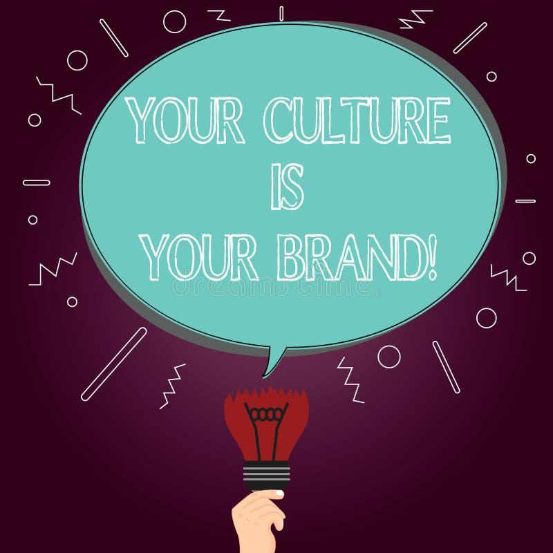 Wortschreibenstext Ihre Kultur ist Ihre Marke E vektor abbildung