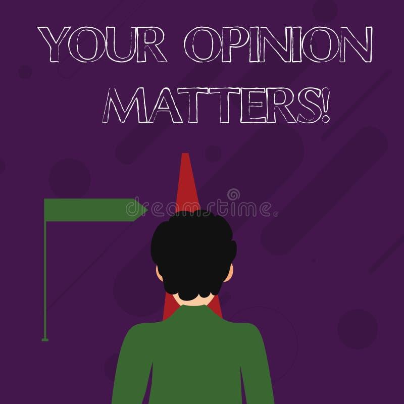 Wortschreibenstext Ihre Meinungs-Angelegenheiten Geschäftskonzept für Kunden-Feedback-Berichte sind das wichtige Mann-Gegenüberst stock abbildung