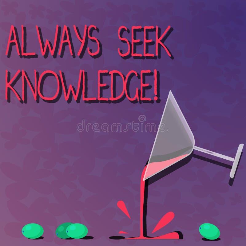 Wortschreibenstext immer Suchvorgang-Wissen Geschäftskonzept für starke Richtung des Autodidact ausgesuchten Wissen Cocktails stock abbildung