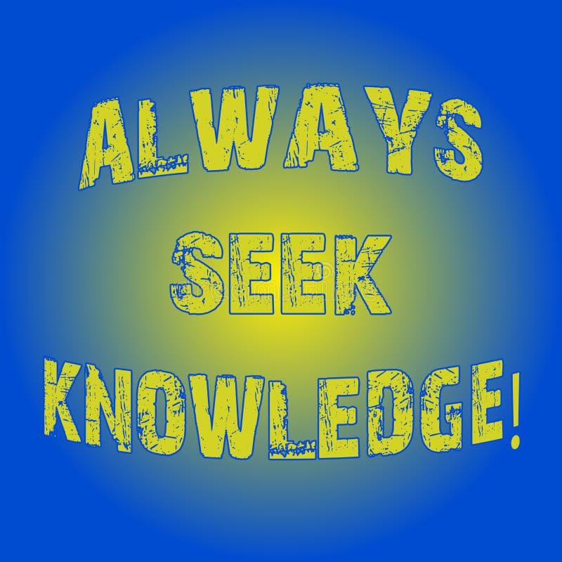 Wortschreibenstext immer Suchvorgang-Wissen Geschäftskonzept für starke Richtung des Autodidact des ausgesuchten Wissen Licht-Bli vektor abbildung