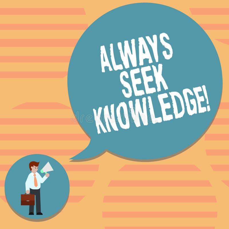 Wortschreibenstext immer Suchvorgang-Wissen Geschäftskonzept für starke Richtung des Autodidact ausgesuchten Wissen Mannes herein vektor abbildung