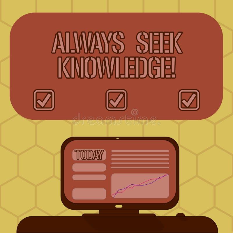 Wortschreibenstext immer Suchvorgang-Wissen Geschäftskonzept für starke Richtung des Autodidact des ausgesuchten Wissens angebrac stock abbildung